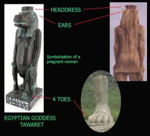 Egyptian goddess Tawaret and the back of 4 toed statue on LOST